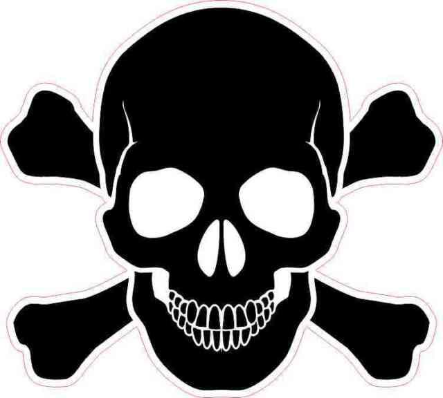 5inx5in black skull and cross bones sticker vinyl window decal stickers decals