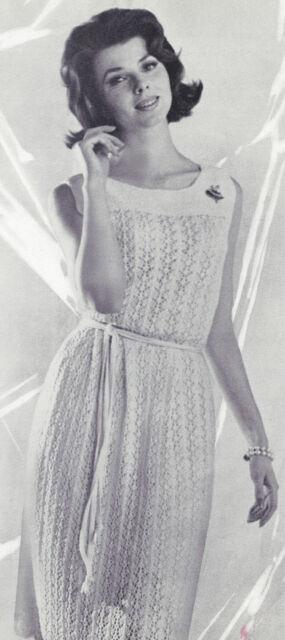 Vintage Knitting Pattern To Make Knit Lace Yoke Dress Moss Stitch