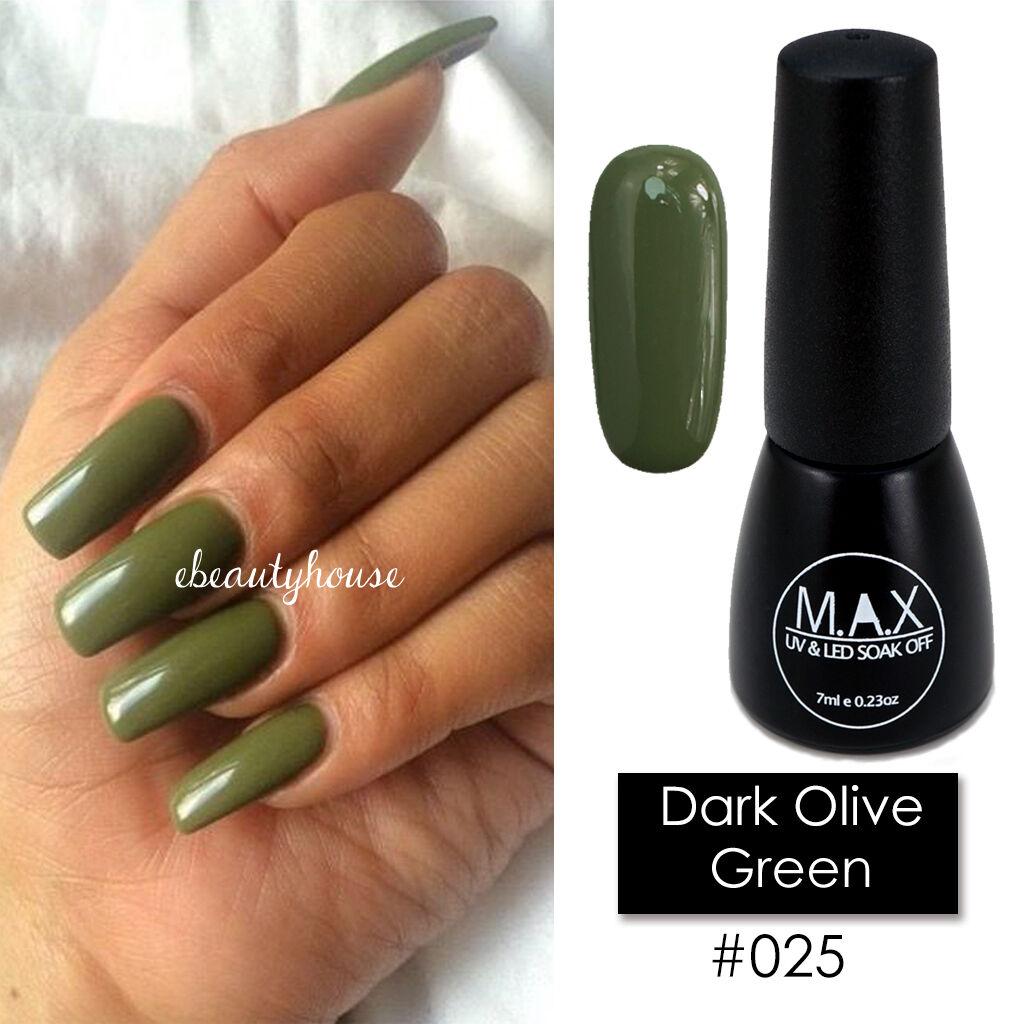 Max 7ml Nail Art Color UV LED Soak off GEL Polish #025-dark Olive ...