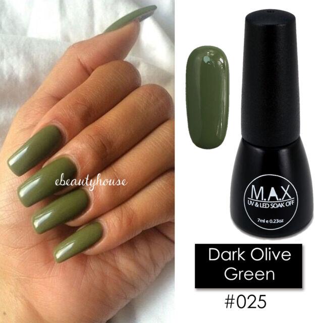 How To Make Olive Green Nail Polish: Max 7ml Nail Art Color UV LED Soak Off GEL Polish #025