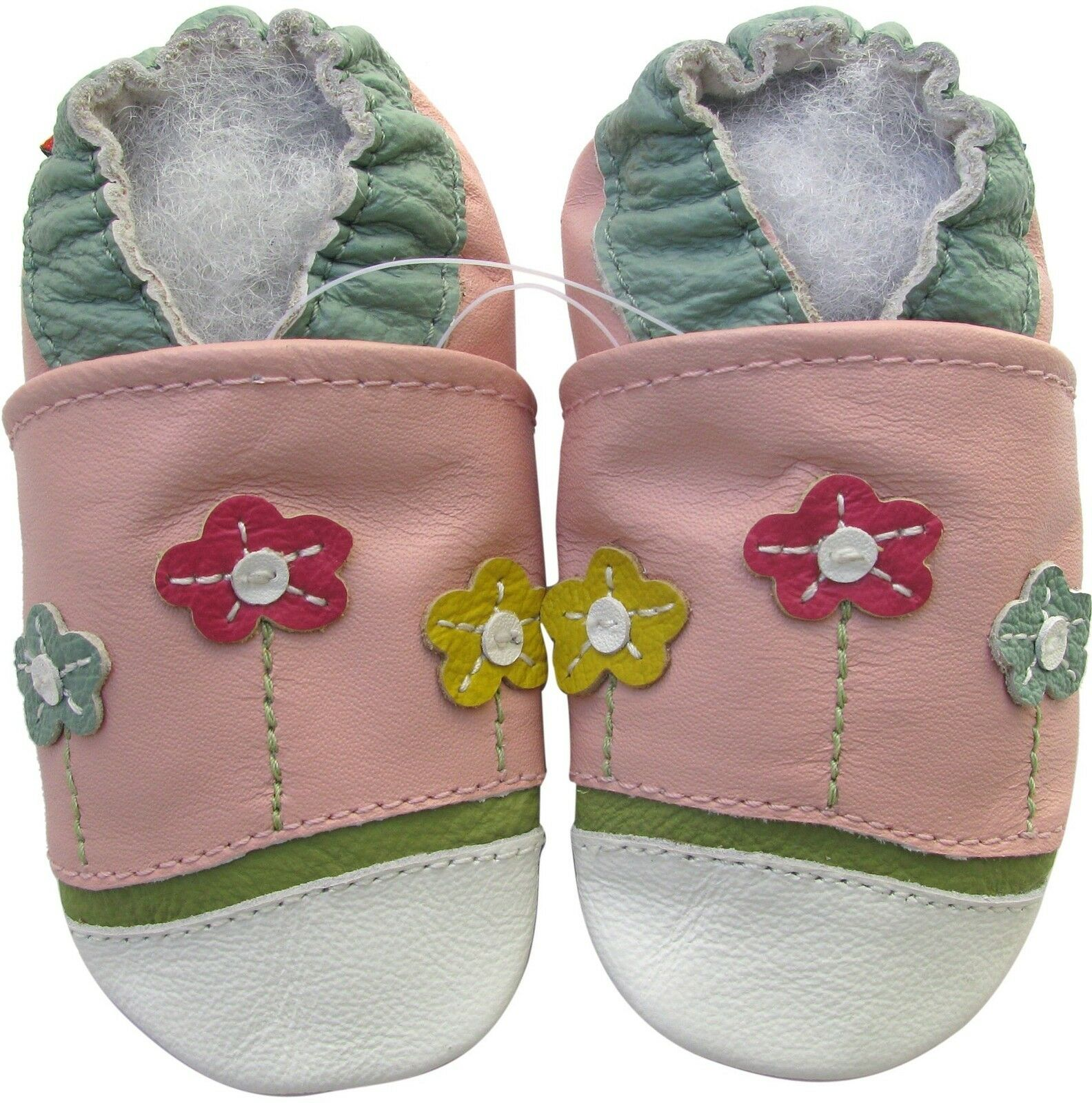 Carozoo Little Flower Pink 6 12m Soft Sole Leather Baby Shoes