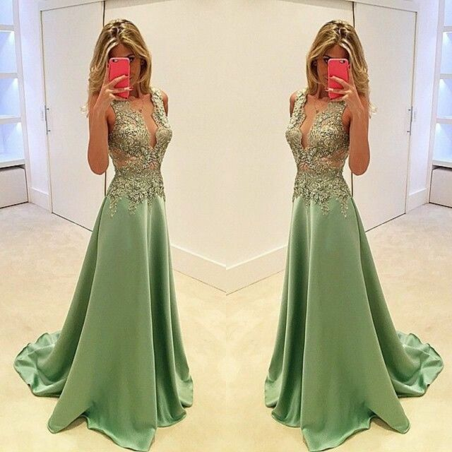 Fashion Green V Neck Lace Prom Long Formal Evening Dresses Pageant ...