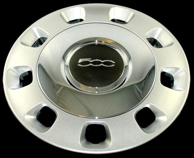 fiat 500 silver vintage chrome centre genuine wheel trim set x 4 71804112 ebay. Black Bedroom Furniture Sets. Home Design Ideas