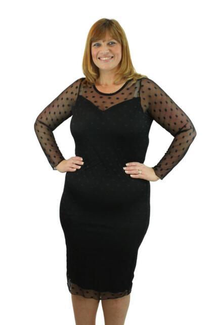 Long Sleeve Plus Size Midi Sheer Mesh Polka Dot Bodycon Dress