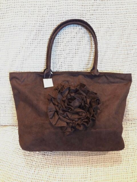 Murval Chocolate Brown Suede Style Rosette Handbag Tote Purse New With Tag