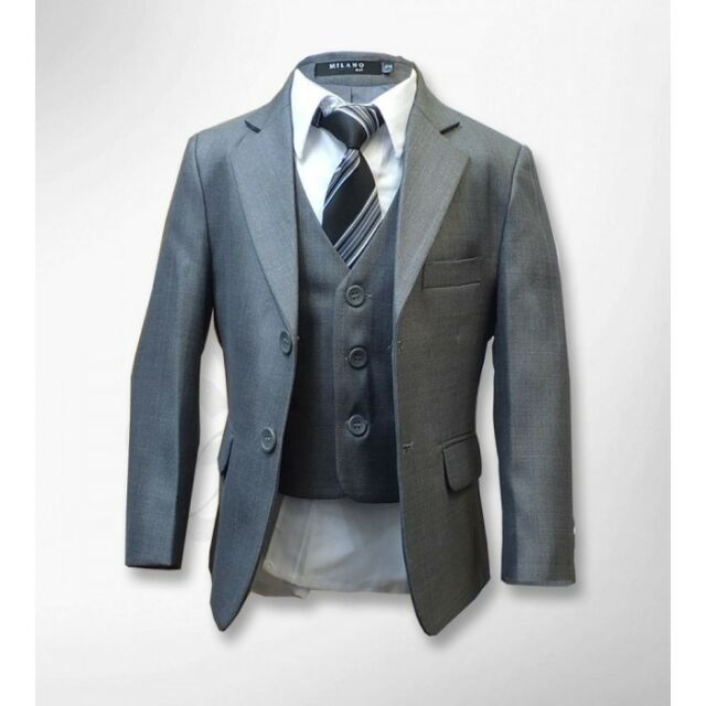 Boys Formal 5 Piece Suits Page Boy Prom Wedding Suit in Grey Brown ...
