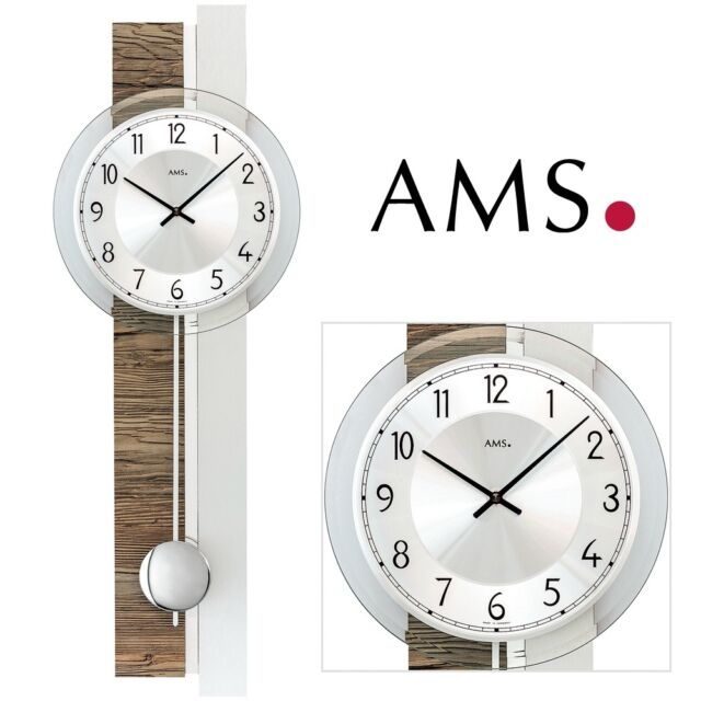 AMS 7438 Wall Clock Quartz With Pendulum Walnut Color Silver Living Room