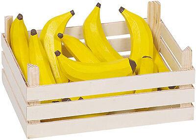 Goki Holzkiste mit Bananen Bananenkiste Holzbanane Marktstiege Holz Kaufladen
