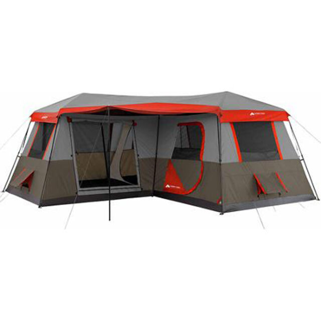 Large C&ing Tent 12 Person 3 Rooms Instant Red 16u0027x16u0027 Family Huge Cabin  sc 1 st  eBay & River Camping 12 Person 3 Rooms Large Red Tent 16u0027x16u0027 Family ...