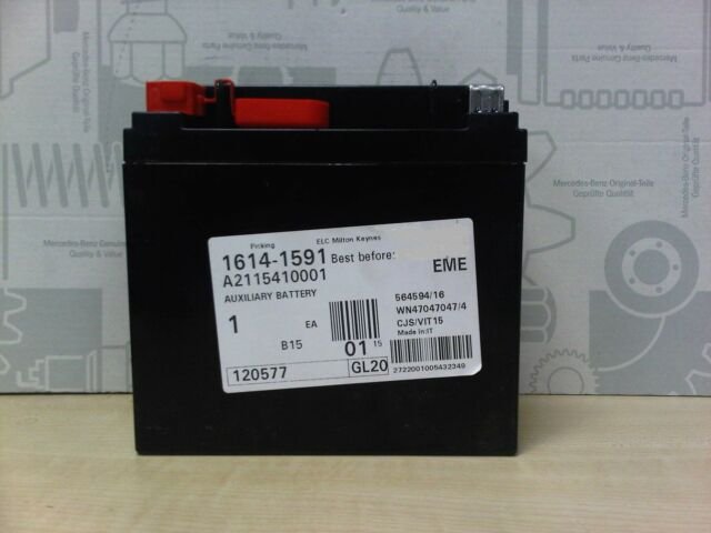 genuine mercedes benz e class auxiliary battery 12v 12ah a2115410001 ebay. Black Bedroom Furniture Sets. Home Design Ideas