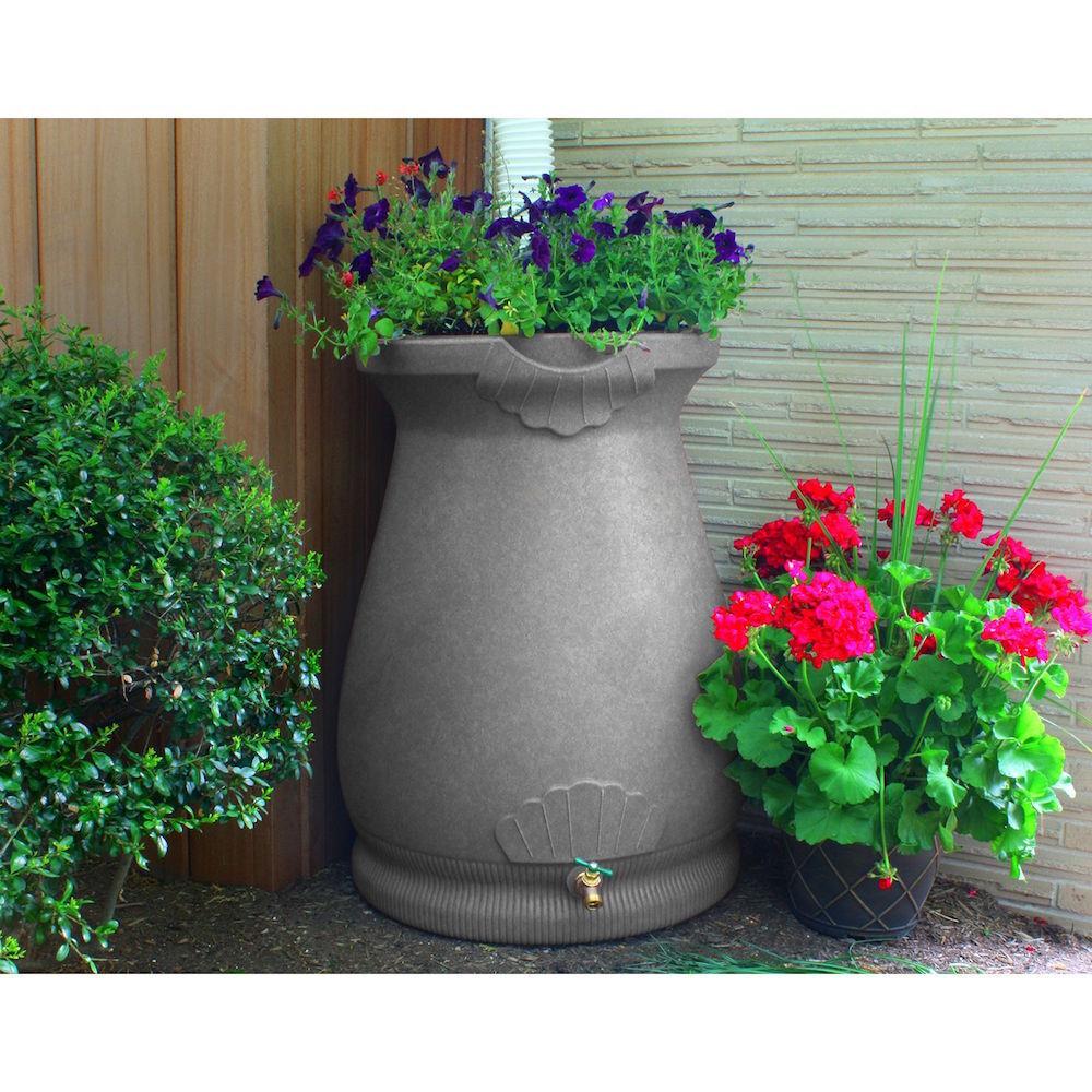 Rain Water Barrel Urn 65 Gallon Planter Top Garden Decor Light ...