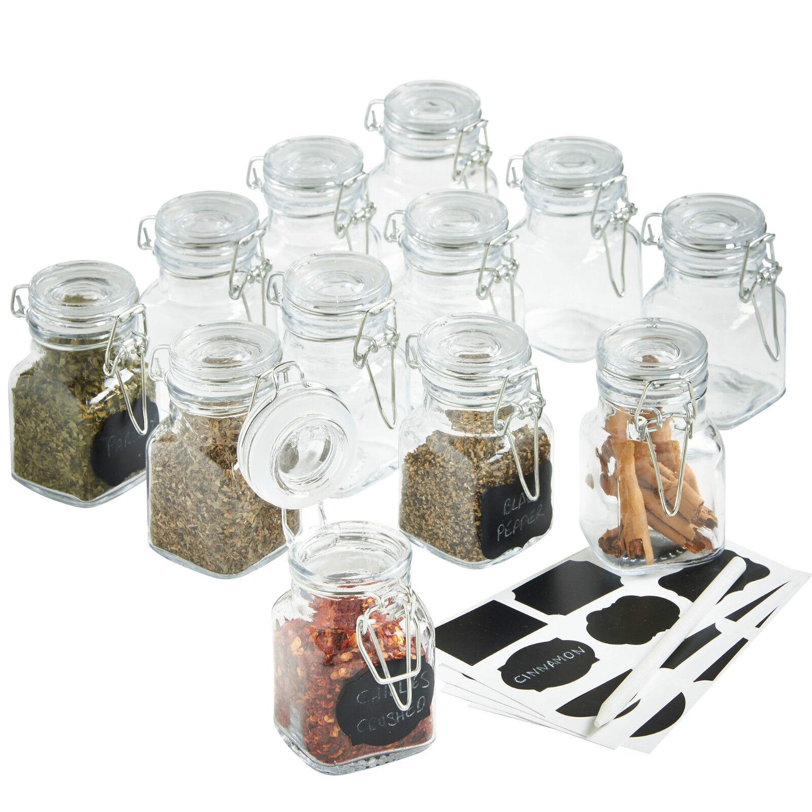 VonShef Glass Jars 12pc Mini Clip Top Airtight Seal Food Spice Storage  Preserve