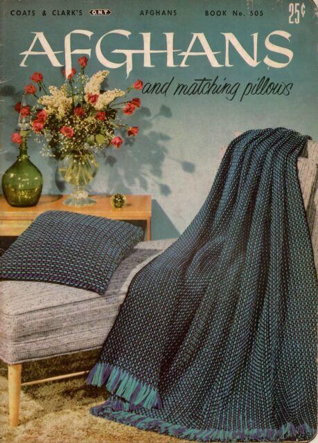 Vtg Knitting Crochet Patterns Afghans Pillows Motifs Pineapple