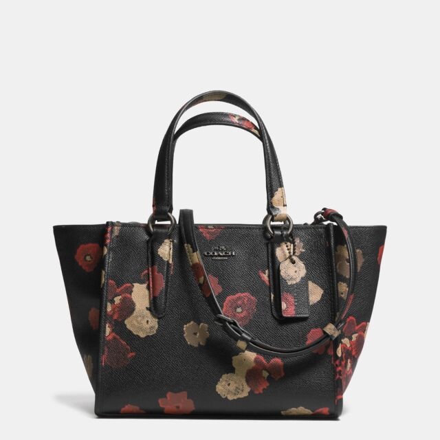 Coach Mini Crosby Carryall Floral Burnished Antique Brass