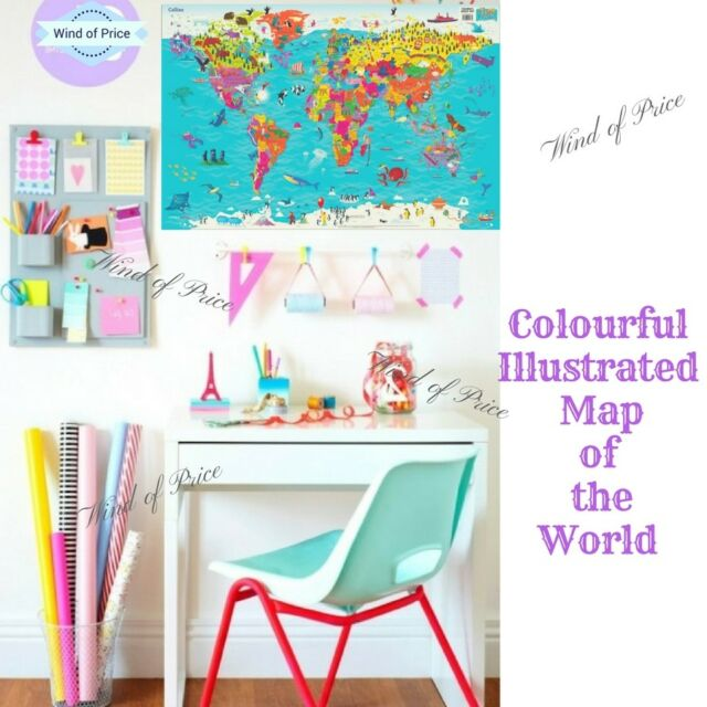 Kids world map poster colourful large wall sticker chirdlen giant kids world map poster colourful large wall sticker chirdlen giant globe school gumiabroncs Choice Image