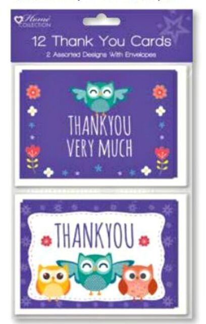 12pc OWL THANK YOU CARDS animals birthday party  girl boy kids+ envelopes
