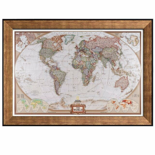 Colorful national geographic antique world map framed art prints colorful national geographic antique world map framed art prints 24x36 inches gumiabroncs Gallery
