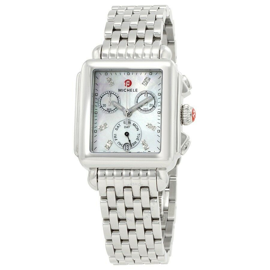 silver ii stainless goldplated watch diamond of michele gold accessories pearl lyst tone steel mother bracelet two watches deco