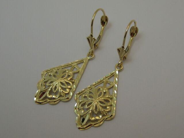 Fancy Dangle Leverback Earrings in 14k Yellow Gold