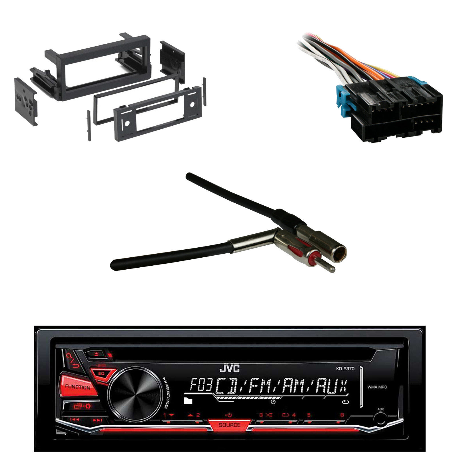 s l1600 jvc cd am fm aux receiver gm wire harness dash kit metra antenna Car Stereo Wiring at panicattacktreatment.co