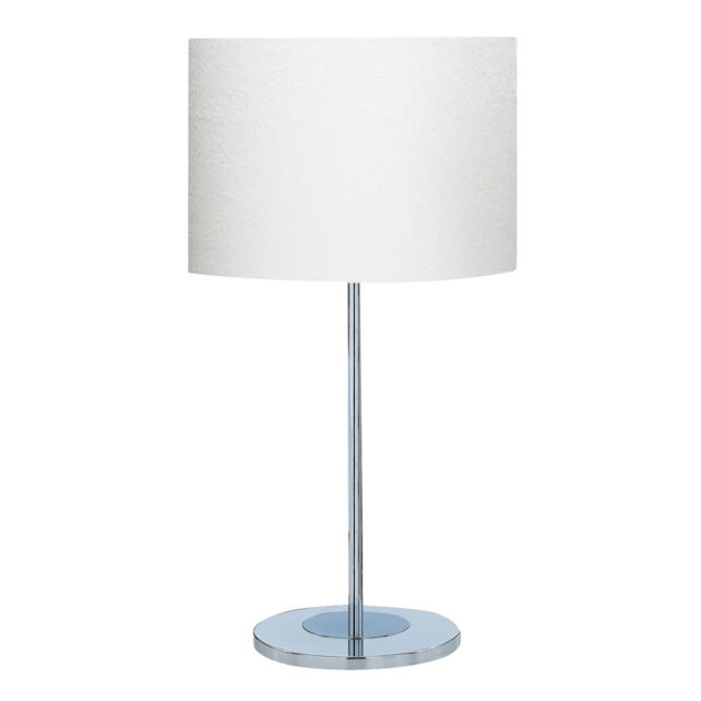 Searchlight 6550CC-1 Chrome Round Base Table Lamp With White Fabric Shade