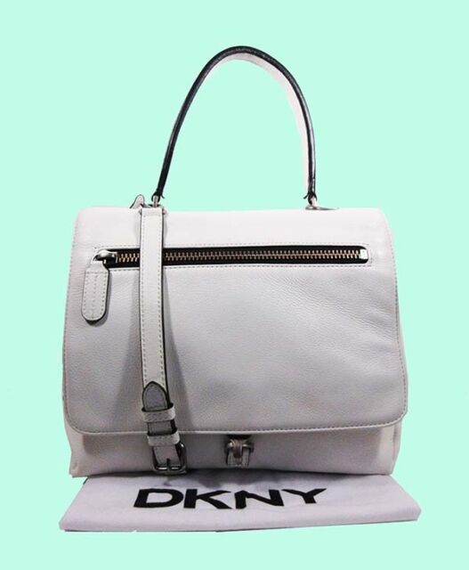 Dkny Lg Flap Top Handle White Leather Shoulder Bag Msrp 398 00