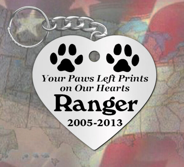 Paws Left Prints Heart Shape Personalized Pet Memorial Keychain Dog ...