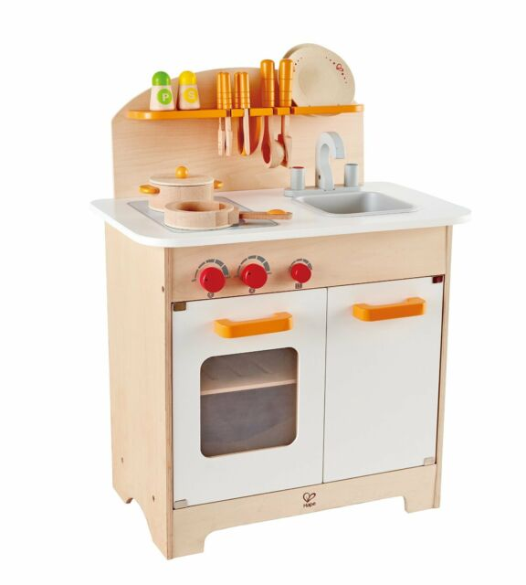 Hape E8116 Gourmet Chef Kitchen And Cookware Wooden Play Set Kids Pretend