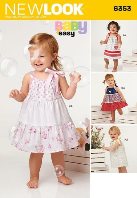 NEW LOOK SEWING PATTERN BABIES DRESS & PANTS SIZE NB - LARGE 6353