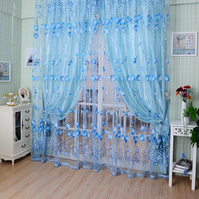 floral tulle voile door window curtain drape panel sheer scarf valances divider orange ebay