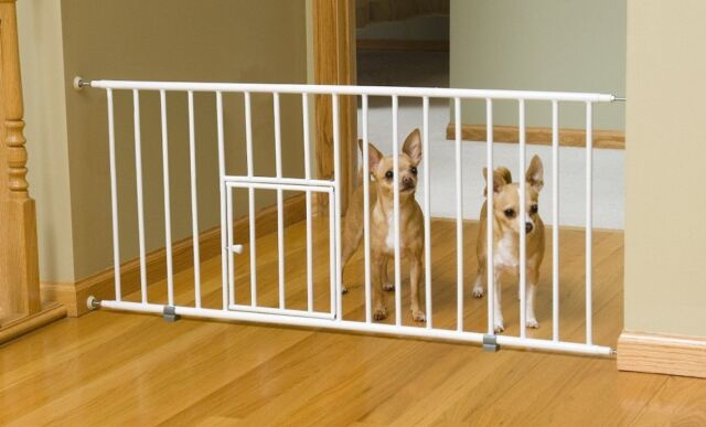 Fence Small Pet Dog Cat Gate Pen Door Indoor Home Baby Toddler 6 Extension  White