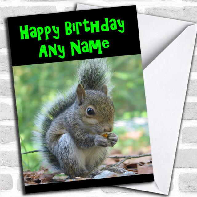 Grey Squirrel Personalised Birthday Card Ebay