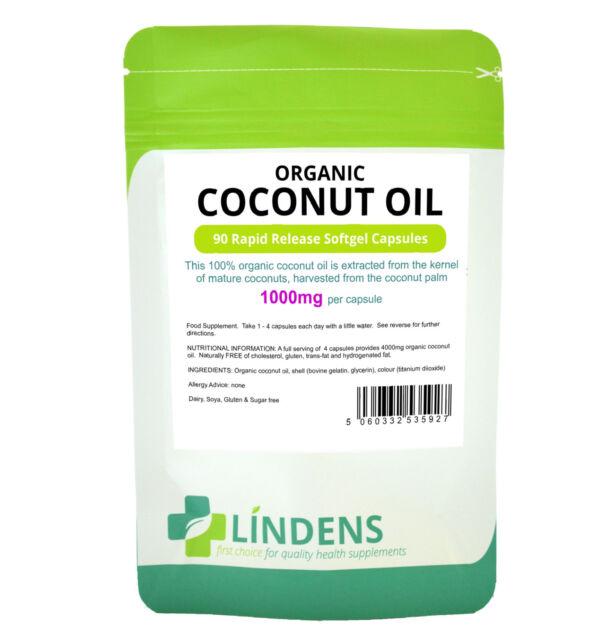 Organic Coconut Oil 1000mg 90 Rapid Release Softgel Capsules - 100% Organic