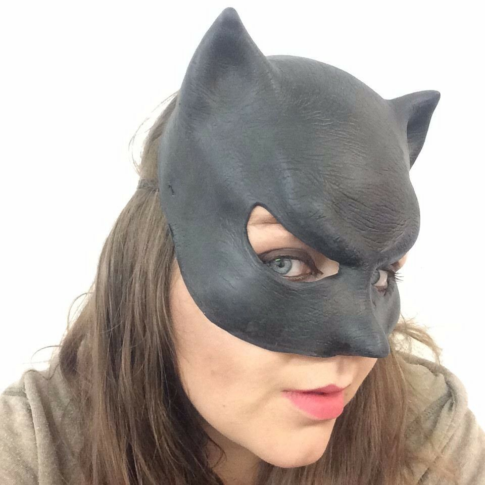 Ladies Black Catwoman Mask Halloween Fancy Dress Cat Panther Latex ...