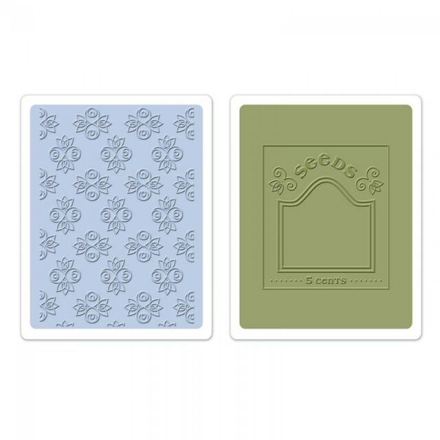 Sizzix Textured Impressions Embossing Folders 2PK - Rosebuds & Seed Packet Set
