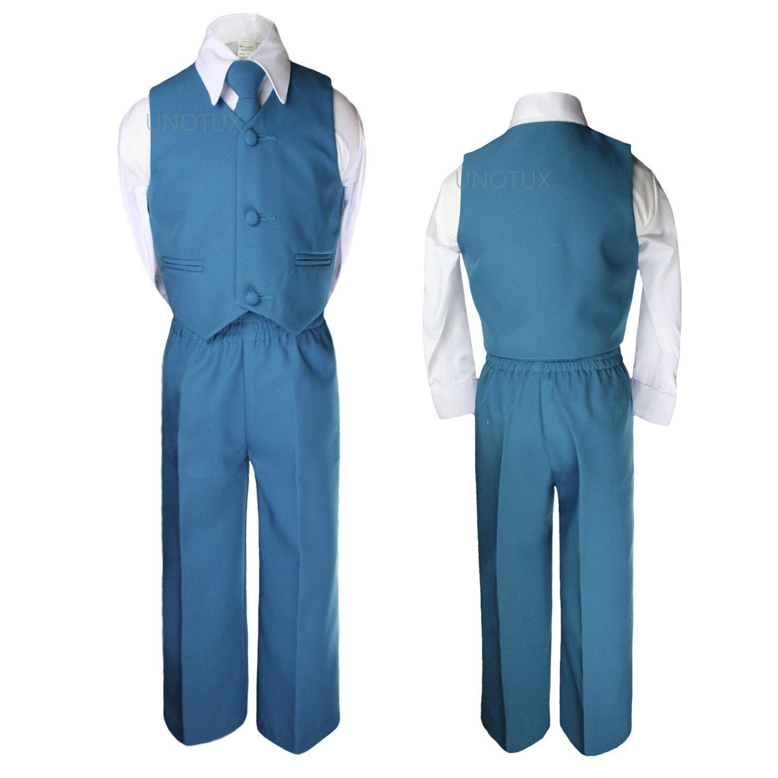 Baby Kid Toddler Boys Wedding 4pc Vest Set Suits Green Bluish ...