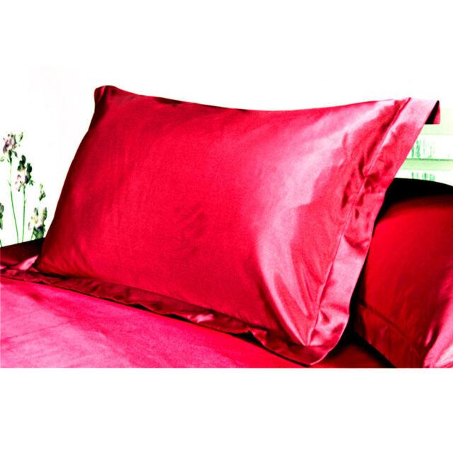 Silk Vs Satin Pillowcase Unique 60pc Queenstandard Silk Satin Flat Pillowcase Multiple Colors Red EBay