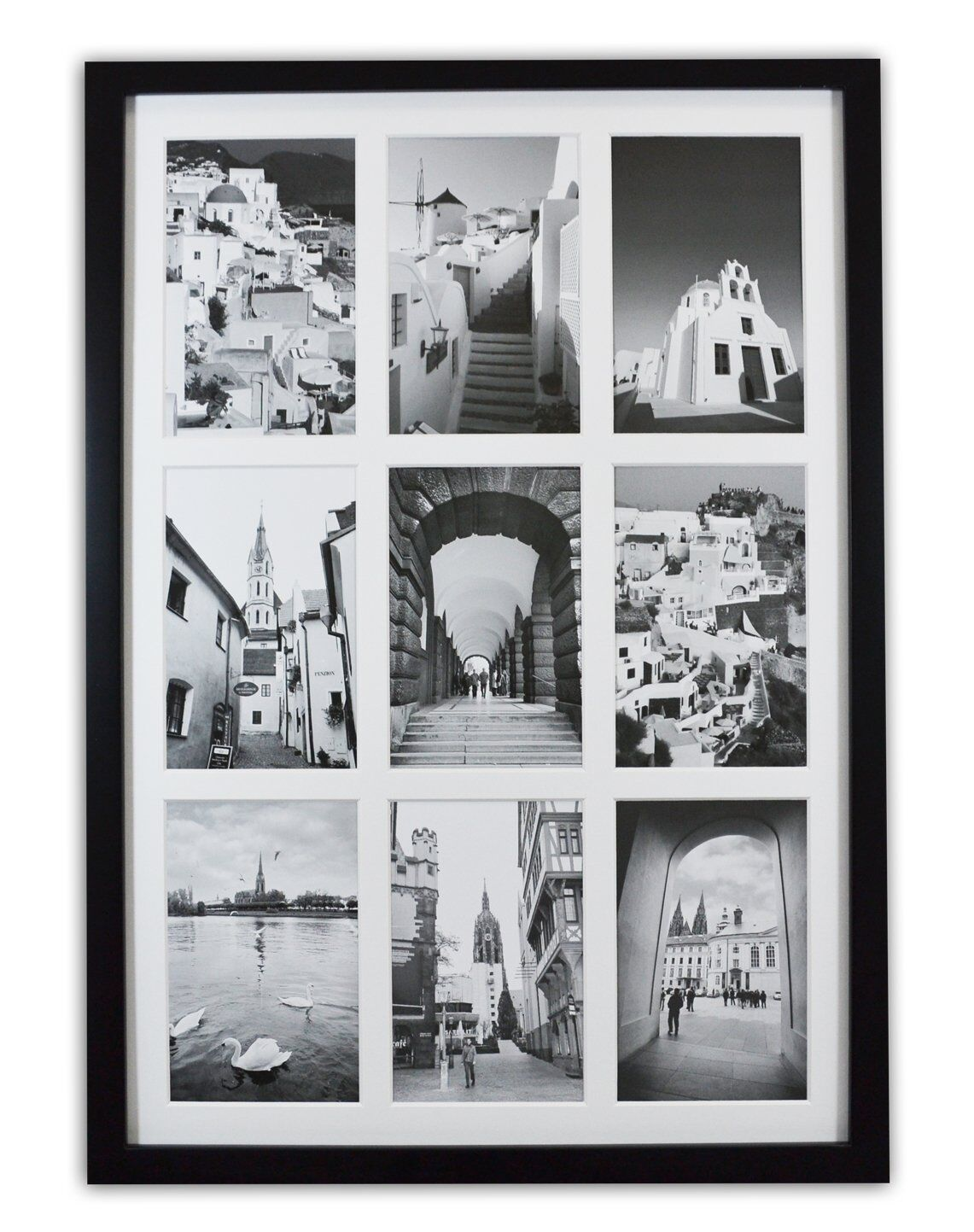 Golden State Art 13.6x19.7 Black Photo Wood Collage Frame With Real Glass  and White Displays (9) 4x6 Pictures