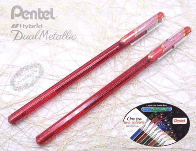 2 pcs Pentel K110 Hybrid Daul Metallic roller ball pen PINK+Metallic PINK