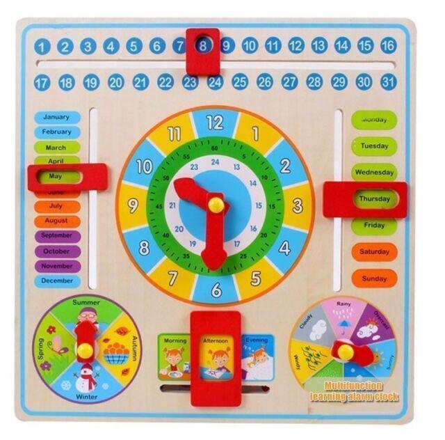 Children S Calendar Weather Chart : Early educational wooden calendar toy clock date weather