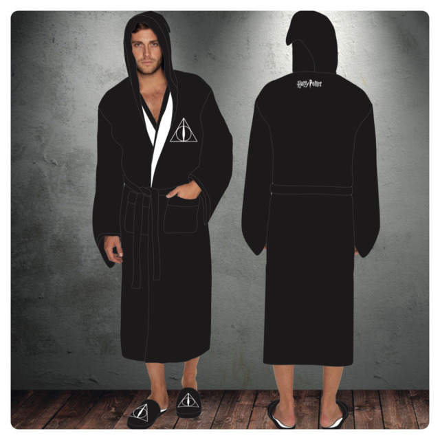 Harry Potter Deathly Hallows Mens Hooded Bath Robe Dressing Night ...