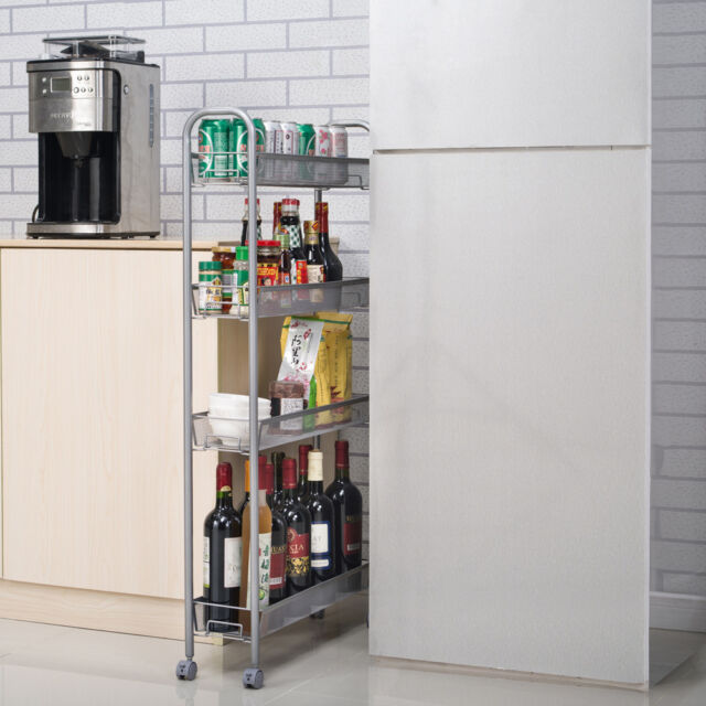 Rolling Storage Slim Cart Laundry Room Kitchen Space Saving 4 Shelf  Organizer