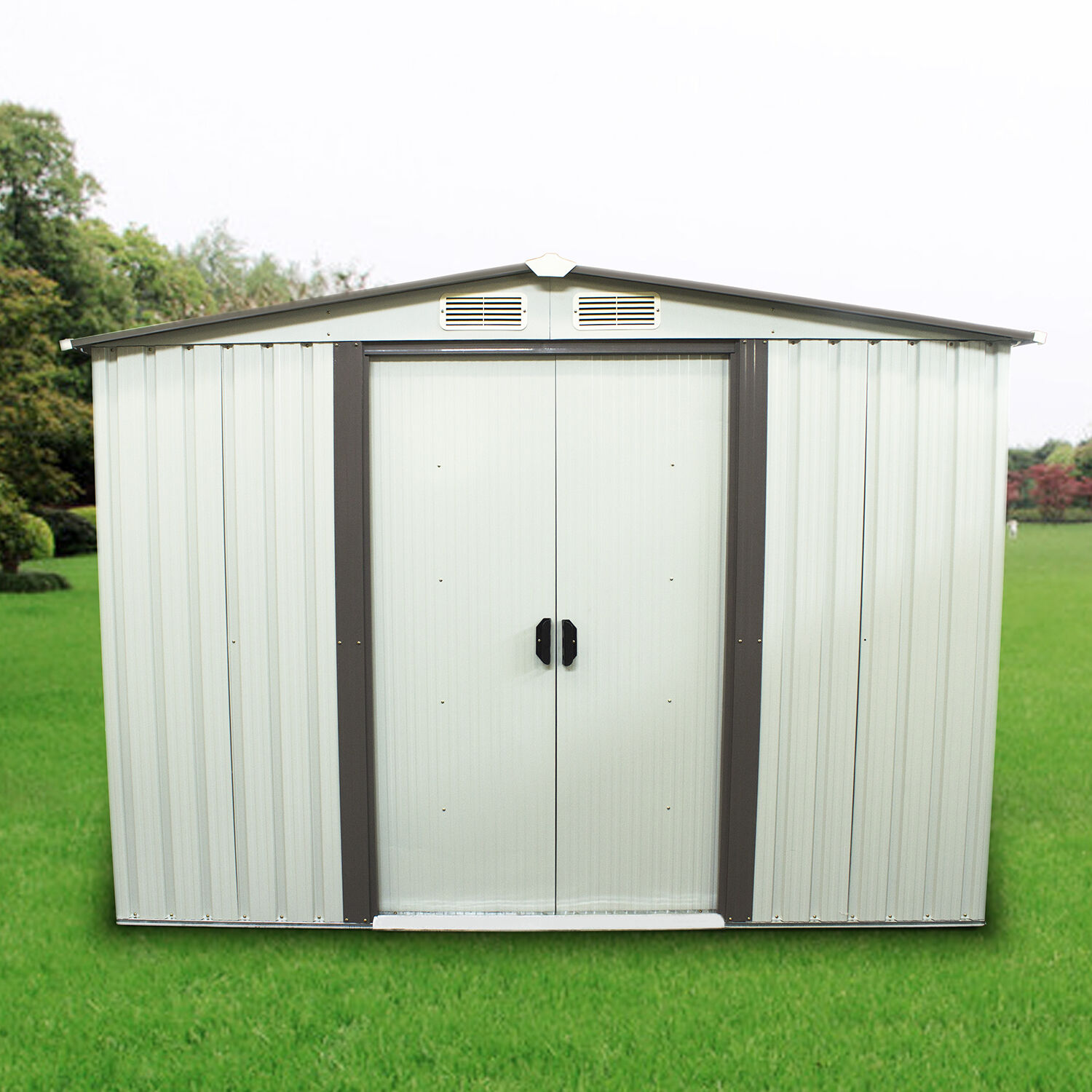 8x8 Outdoor Storage Shed Steel Garden Utility Tool Backyard Lawn