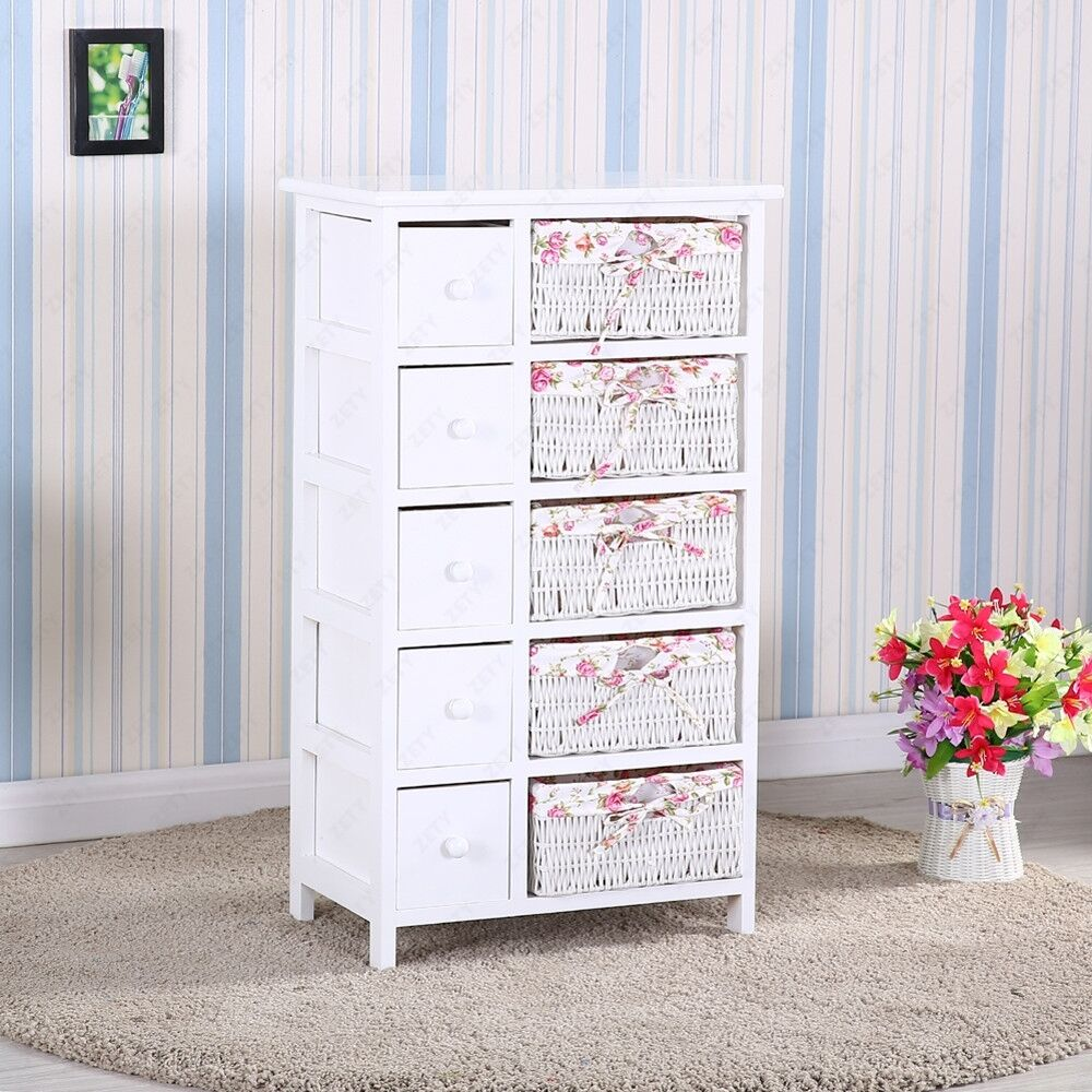Bedroom Storage Dresser Chest 5 Drawers W/ Wicker Baskets Cabinet ...