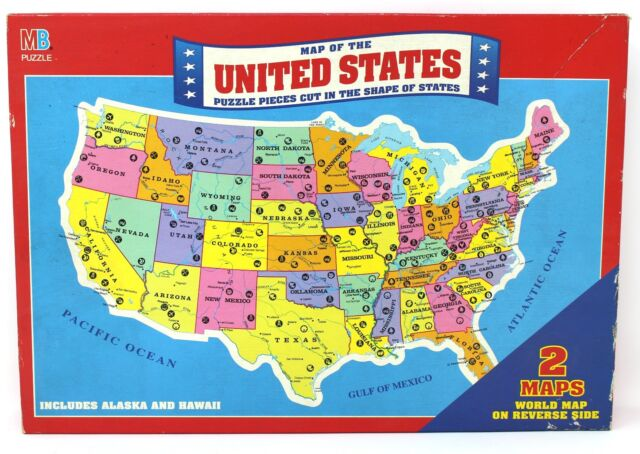 Vintage 1988 united states map puzzle 4806 milton bradley rand mb rand mcnally map of the united states puzzle w world map on reverse sealed gumiabroncs Images
