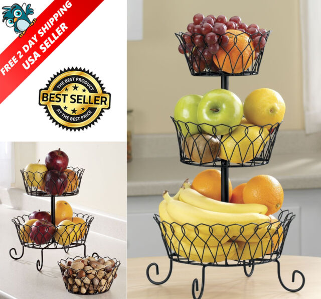 3 Tier Fruit Basket Bowl Holder Stand Kitchen Vegetables Storage Organizer Decor Ebay