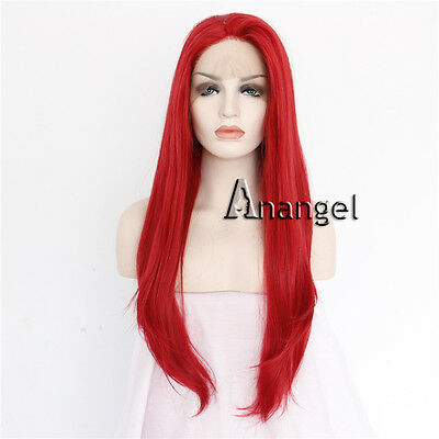 Red Lace Front Wig Women s Wigs Long Straight Heat Resistant Synthetic Hair 9da2085a6