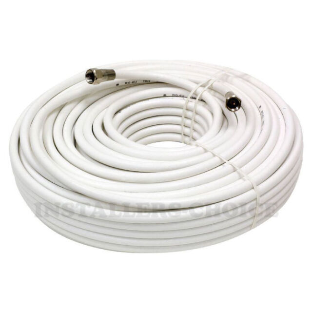 50ft Coaxial Coax Cable Wire Cord Satellite TV Dish White | eBay