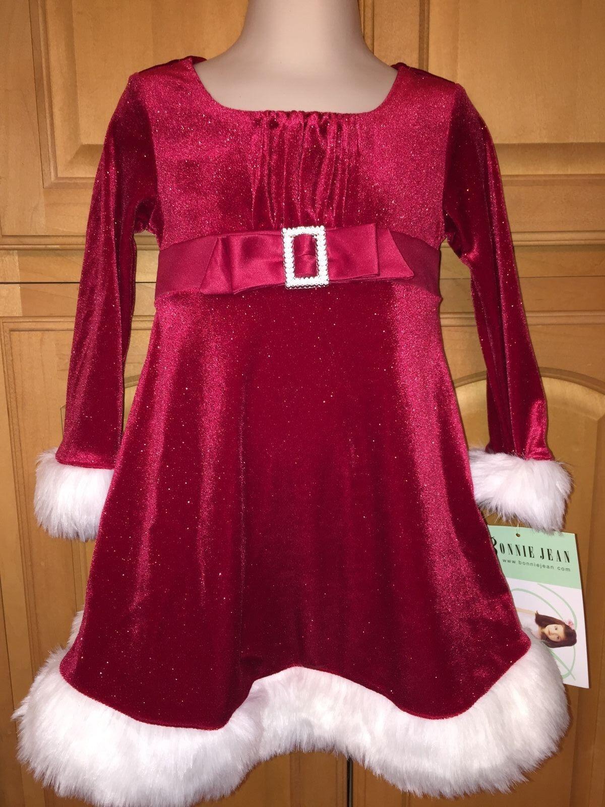 Bonnie Baby Infant Girls Red Velvet Christmas Dress W white Fur 12m