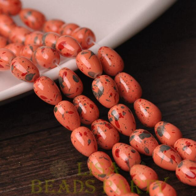 New 20pcs 11X8mm Teardrop Colorized Dots Loose Glass Spacer Beads Orange